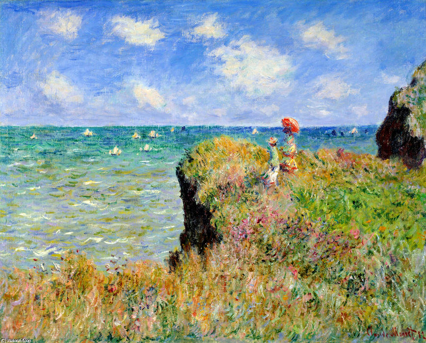 famous painting clifftop walk in pourville of Claude Monet