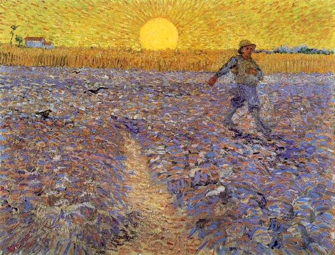 famous painting sower` mit einstellung sonne of Vincent Van Gogh