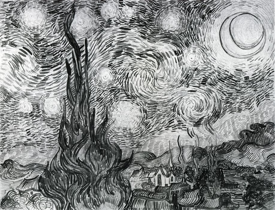 famous painting Sternennacht nachziehend  of Vincent Van Gogh