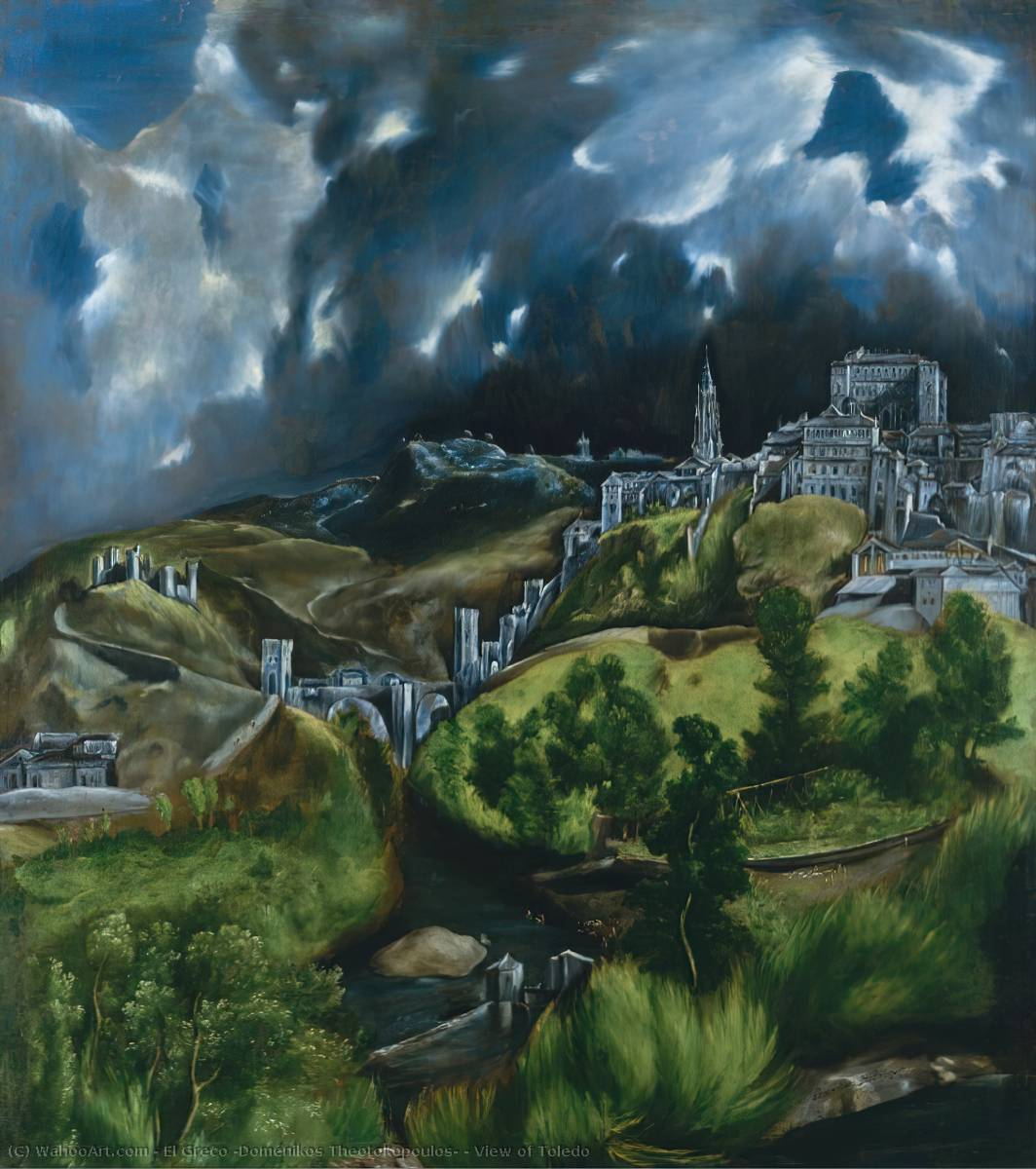 famous painting Ansicht von Toledo of El Greco (Doménikos Theotokopoulos)