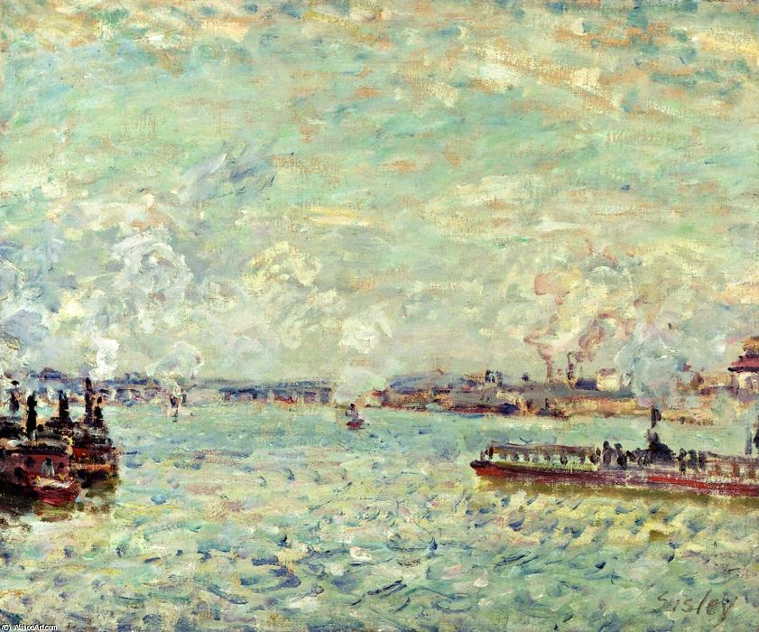 famous painting die seine am point du jour of Alfred Sisley
