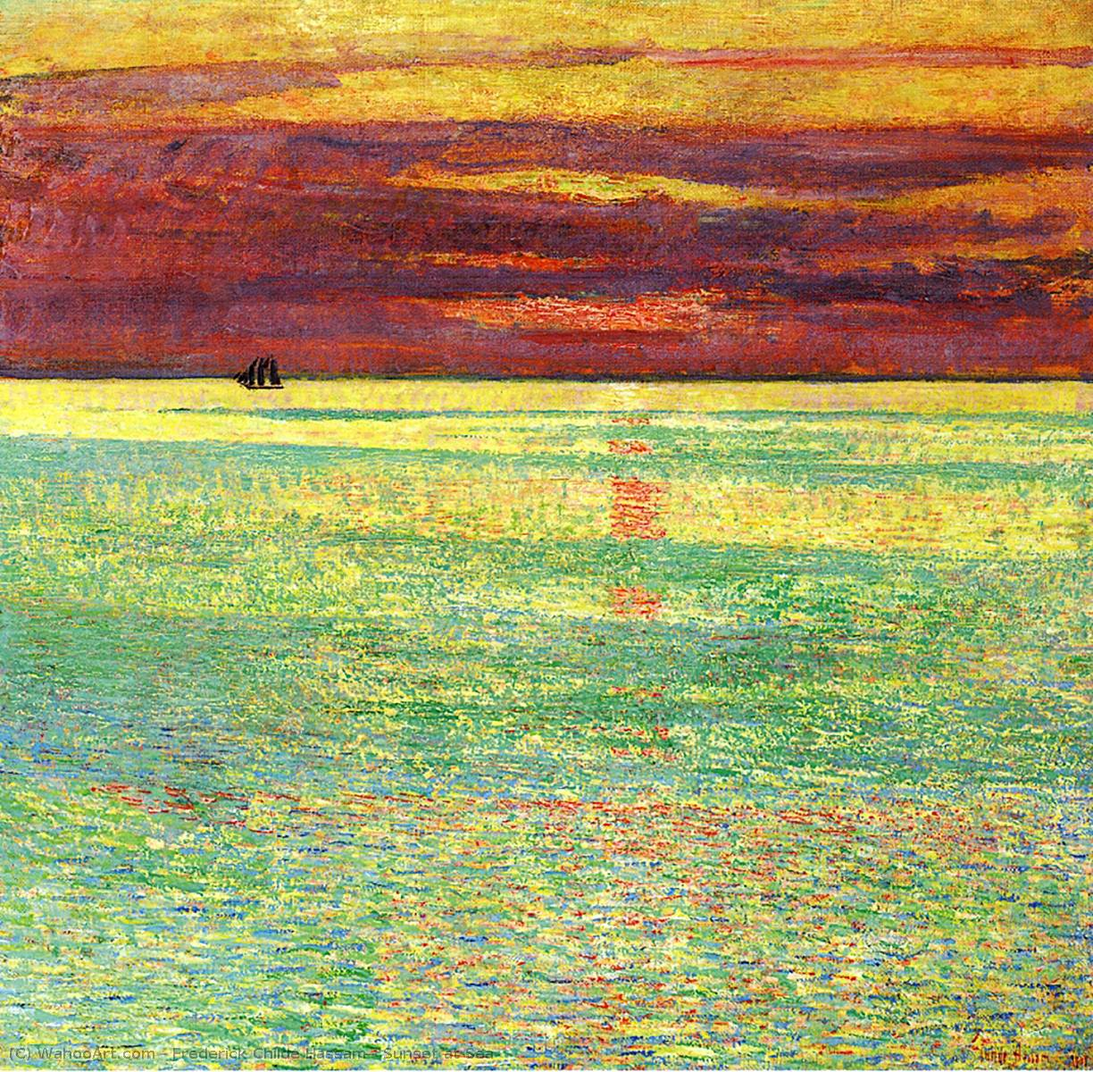 famous painting sonnenuntergang bei meer of Frederick Childe Hassam