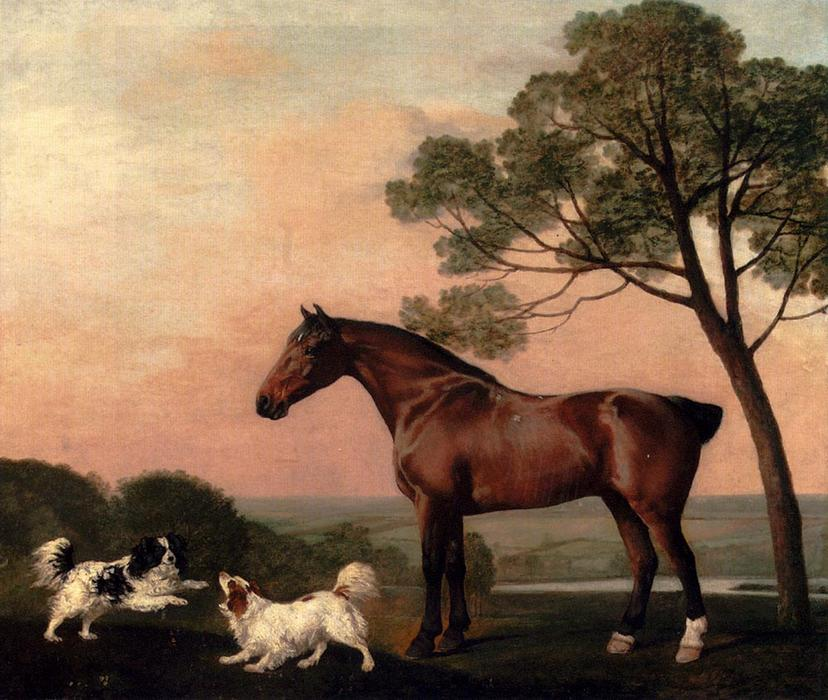 Kauf Museum Kunstreproduktionen | ein bay hunter mit zwei spaniels von George Stubbs | Most-Famous-Paintings.com