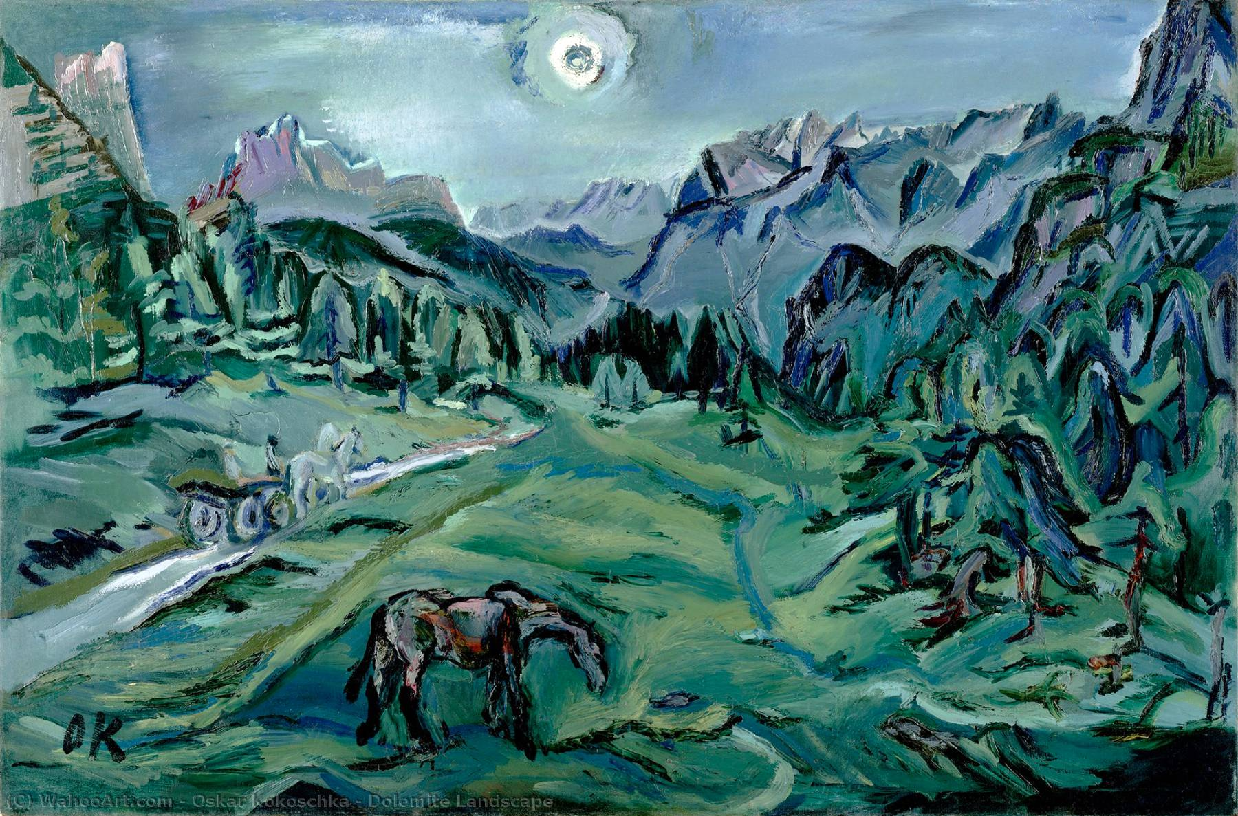 | dolomitenlandschaft von Oskar Kokoschka | Most-Famous-Paintings.com
