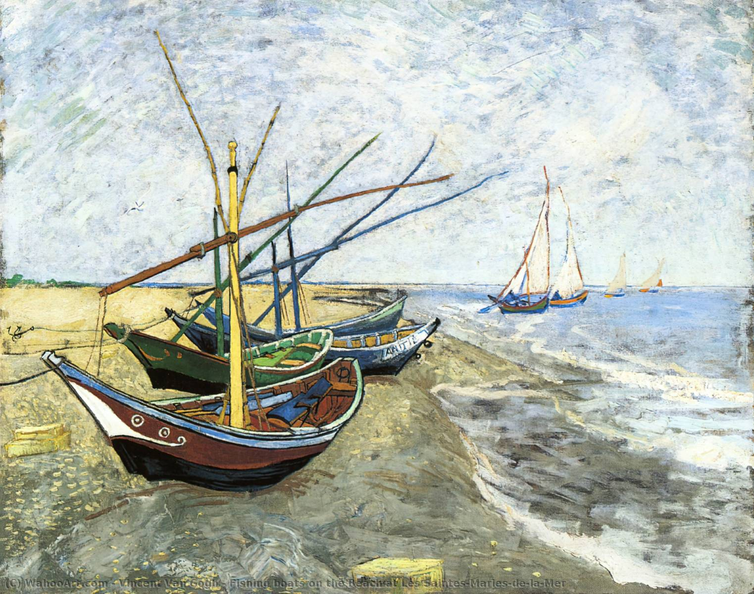 famous painting angeln boote am strand les Saintes-Maries-de-la-Mer of Vincent Van Gogh