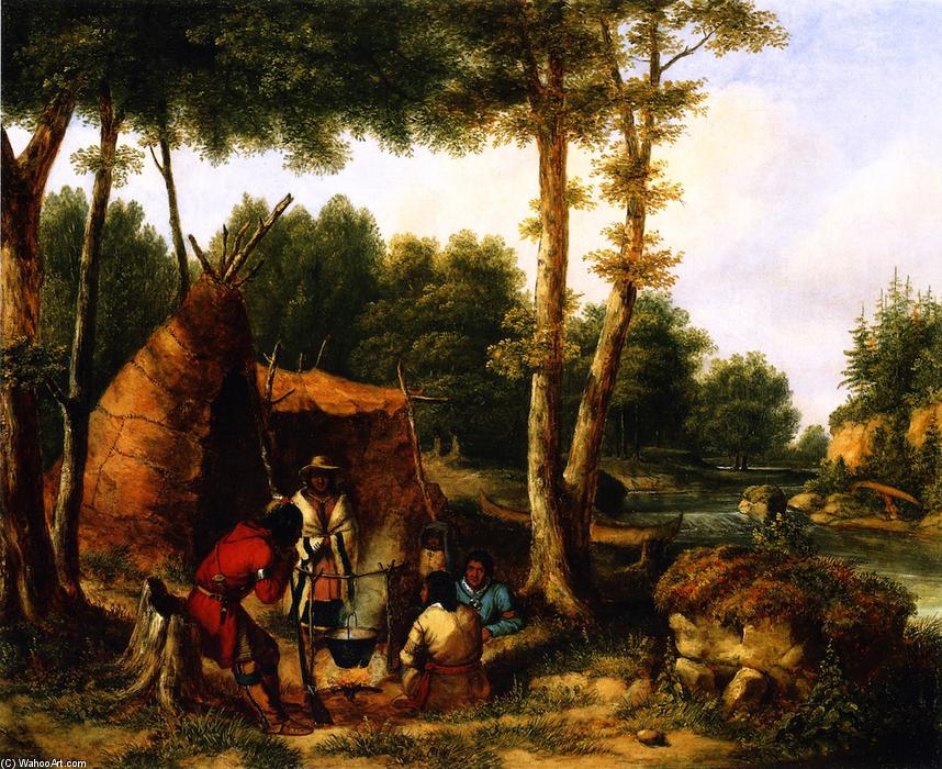 Bestellen Kunstreproduktionen | indisch `encampment` durch ein fluss von Cornelius David Krieghoff | Most-Famous-Paintings.com