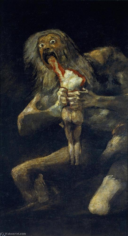famous painting Saturn Auffressend sein sohn of Francisco De Goya