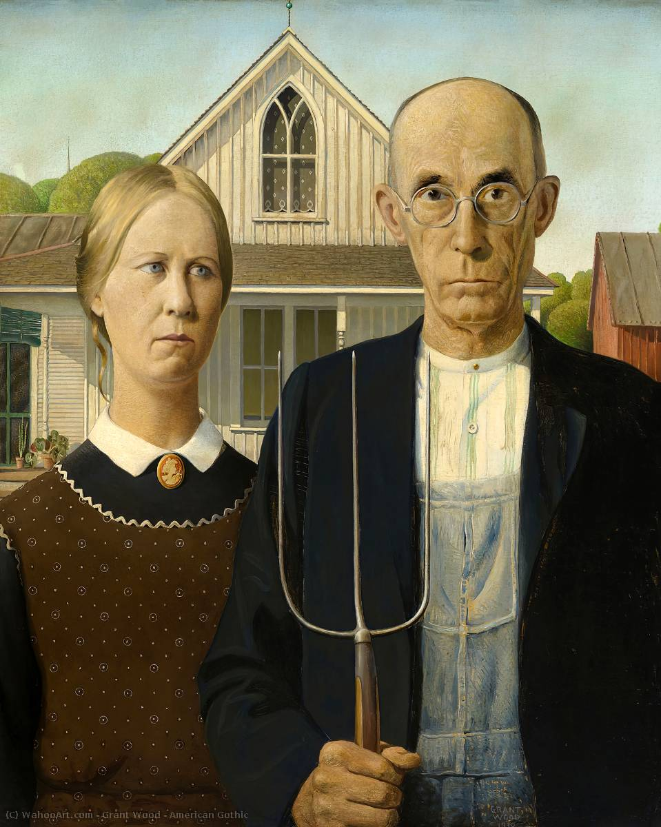 famous painting amerikanisch gotisch of Grant Wood