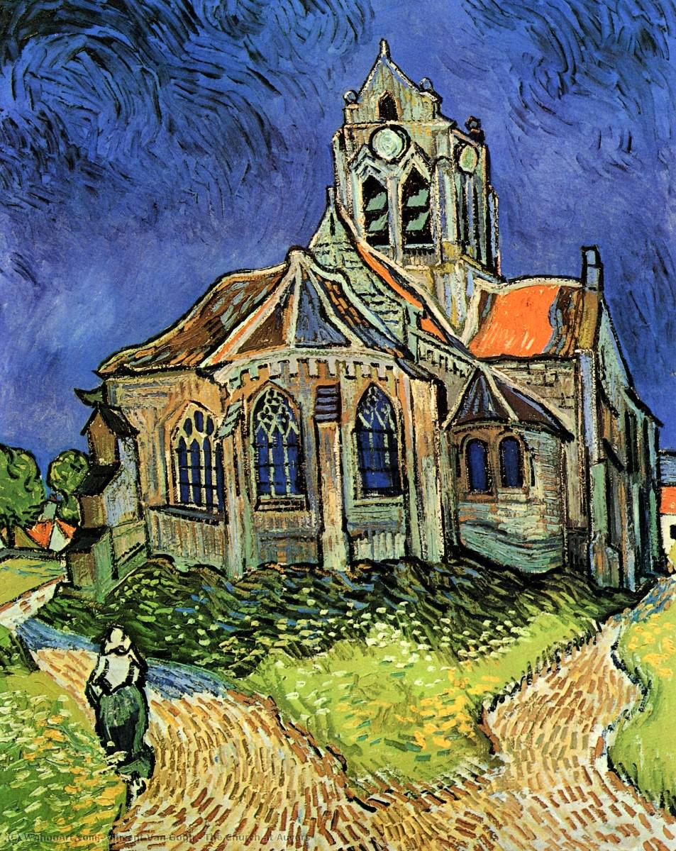 Kauf Museum Kunstreproduktionen | die kirche in auvers von Vincent Van Gogh | Most-Famous-Paintings.com