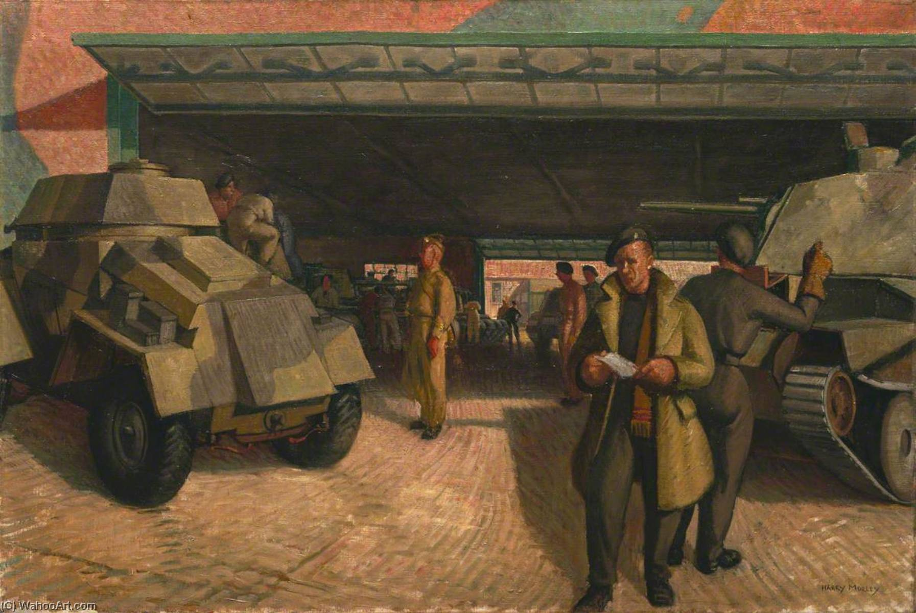 famous painting Der panzer Park entfernt  of Harry Morley